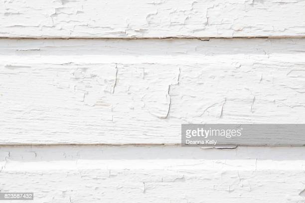 Wood Slat Wall Background With White Cracking Paint