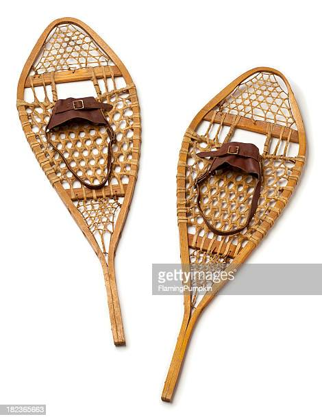 Wood Snowshoes on White Background.