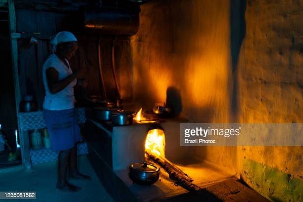 Wood stove - typical modest rural house in countryside Brazil.