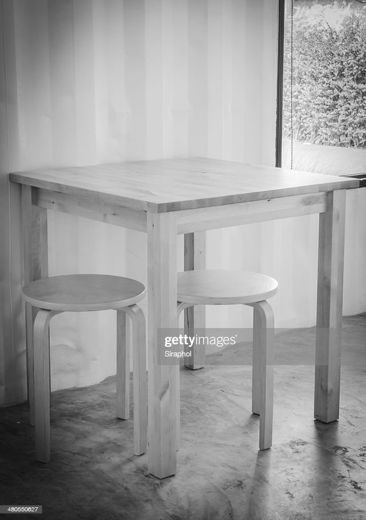 Wood table and chair : Stock Photo