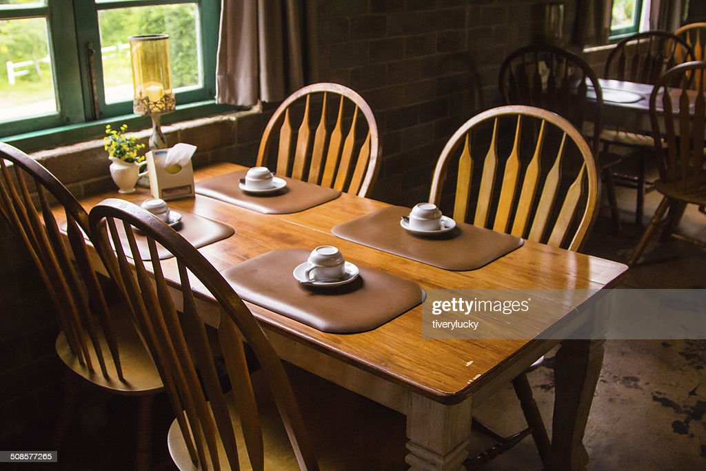 Wood table Italian-style : Stock Photo