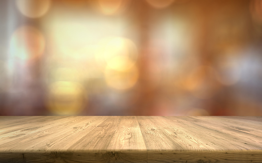 Wood table top on light blur background empty brown wood table 1146986931