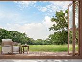 Wood terrace with garden view 3d render