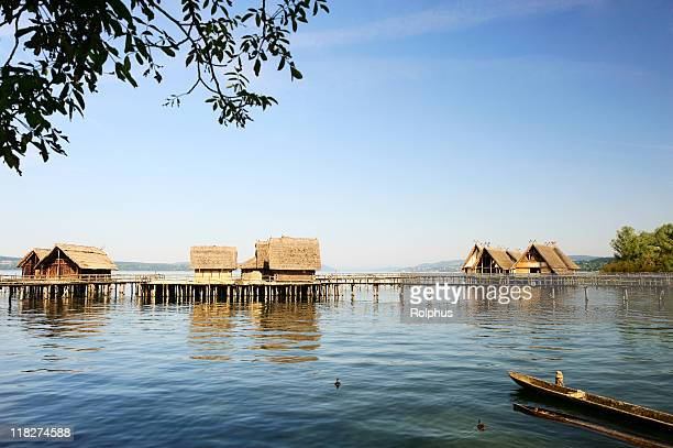wood town at lake constance unteruhldingen coast view summer - bodensee stock pictures, royalty-free photos & images