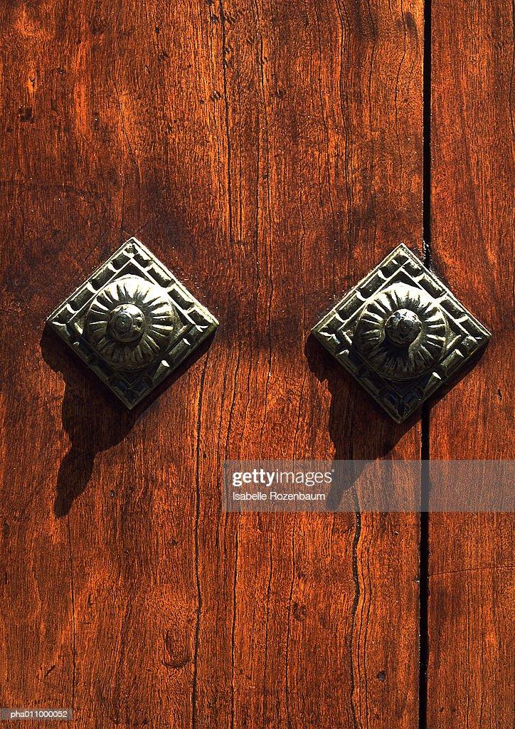 Wood with metal studs. : Stockfoto