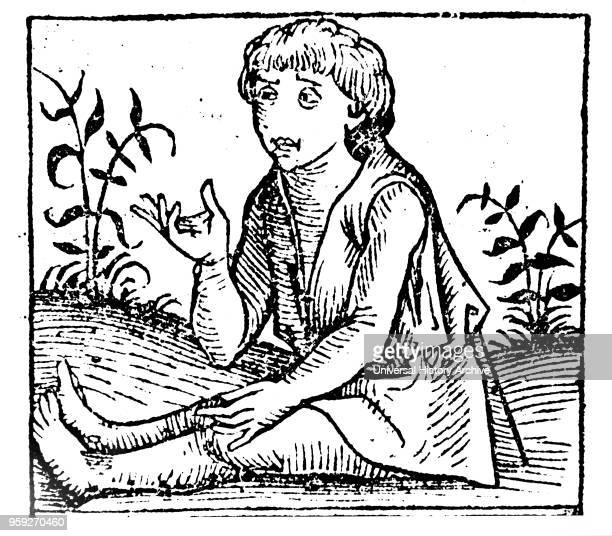 Woodblock engraving depicting a noseless hermaphrodite tribe which the ancients believed inhabited certain regions of the earth Dated 15th century