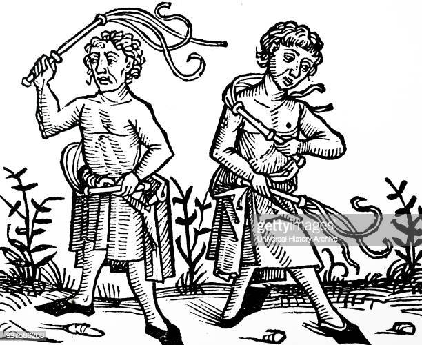 Woodblock engraving depicting members of the sect of Flagellants scourging themselves At the time of the Black Death in Europe members of the sect...
