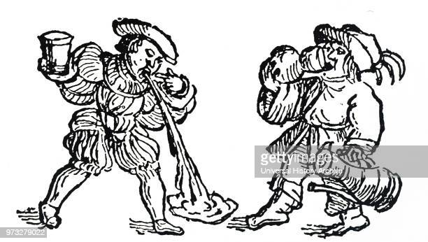 Woodblock engraving depicting two men suffering from a hangover after drinking too much wine Dated 16th century