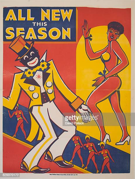 Woodblock poster for American Minstrel show blackfaced singer and scantily clad dancer ca 1920s