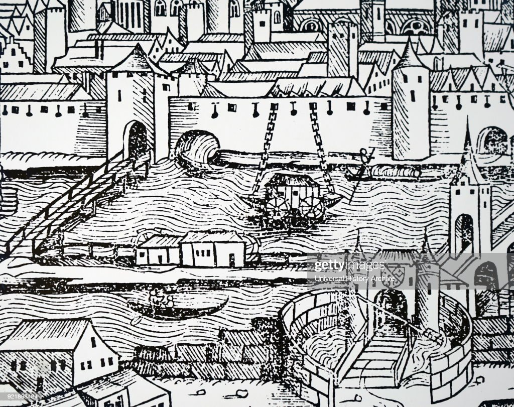Woodblock print depicting a detail view of Ratisbon, showing a mill for grinding corn floating in mid-stream, and using the river current to drive the machinery. Dated 15th century.