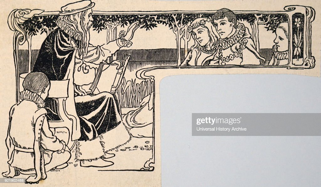 Woodblock print depicting a philosopher reading aloud. Dated 20th century.