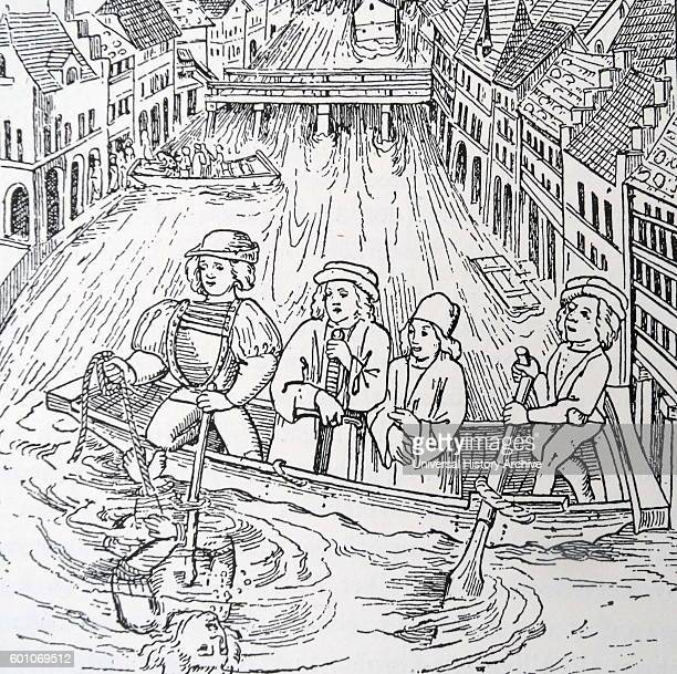 Woodblock print depicting drowning as a form of punishment during 15th Century Switzerland Dated 15th Century