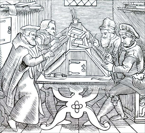 Woodblock print depicting historiographers Dated 16th century