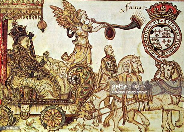 Woodblock print depicting Queen Elizabeth I of England Queen of England riding in the Chariot of Fame Dated 16th Century