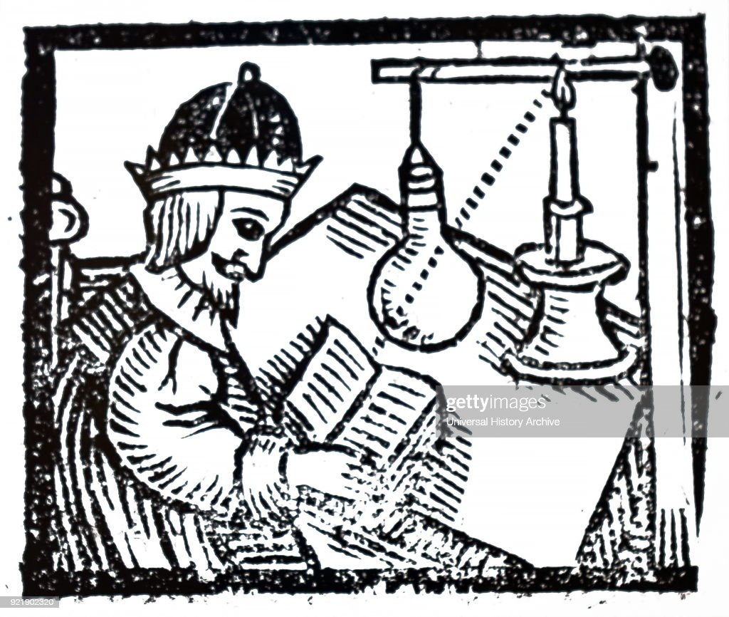 Woodblock print depicting the increasing power of a candle by passing the light through a water-filled glass globe which acted as a condenser. Dated 17th century.