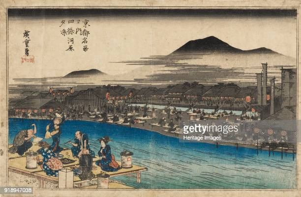 Woodblock print Night view at Shijo Kawaramachi 17971858 Dimensions height x width mount 406 x 559 cmheight x width print 24 x 367 cm