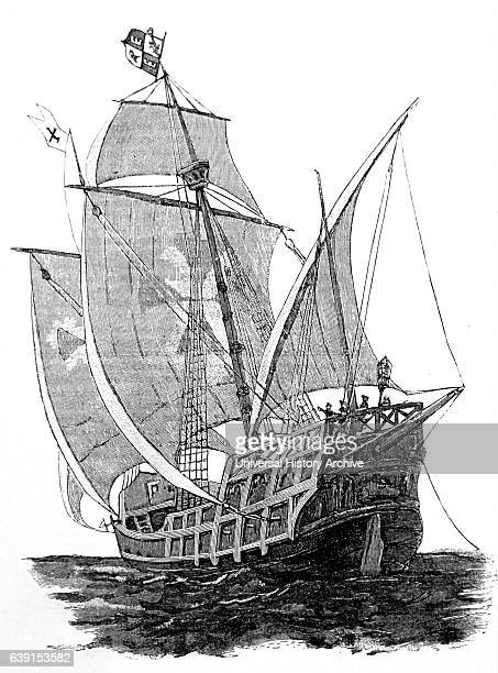 Woodblock print of a Caravel a small highly manoeuvrable sailing ship developed in the 15th Century by the Portuguese to explore along the West...