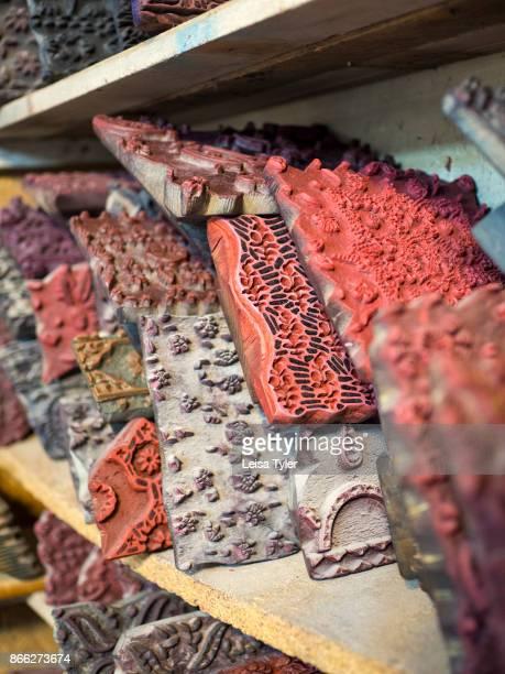 Woodblocks at Ebadi Qalamkar workshop a block print workshop in Esfahan old town Known locally as qalamkar