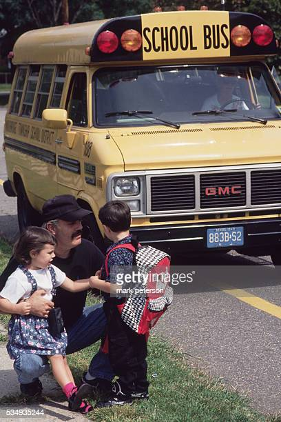 Woodbridge, New Jersey: Parent Dropping Their Child Off At The First Day Of School In Woodbridge.
