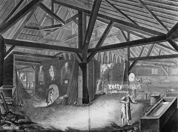 A woodburning glassworks with workers engaged in the various processes of blowing and spinning crown and window glass circa 1770 Original publication...