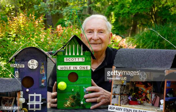 Jerry Abel of Woodbury, New York, former biology teacher and basketball coach, used downtime during the Covid-19 pandemic to build birdhouses for...