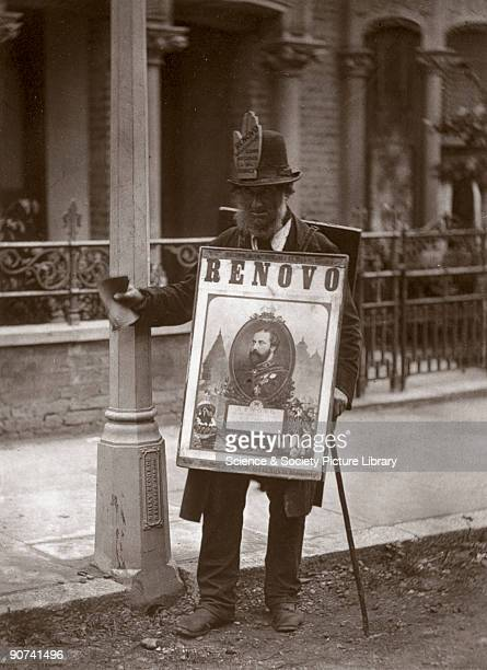 Woodburytype of a man wearing a sandwich board taken from 'Street Life in London' written by Adolphe Smith with photography by the Scottish...