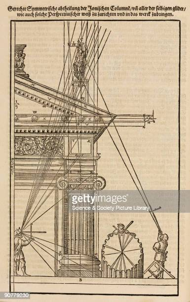 Woodcut by Peter Flotner from 'Vitruvius Teutsch' the first German translation of �De architectura� by the Roman architect and engineer Vitruvius...