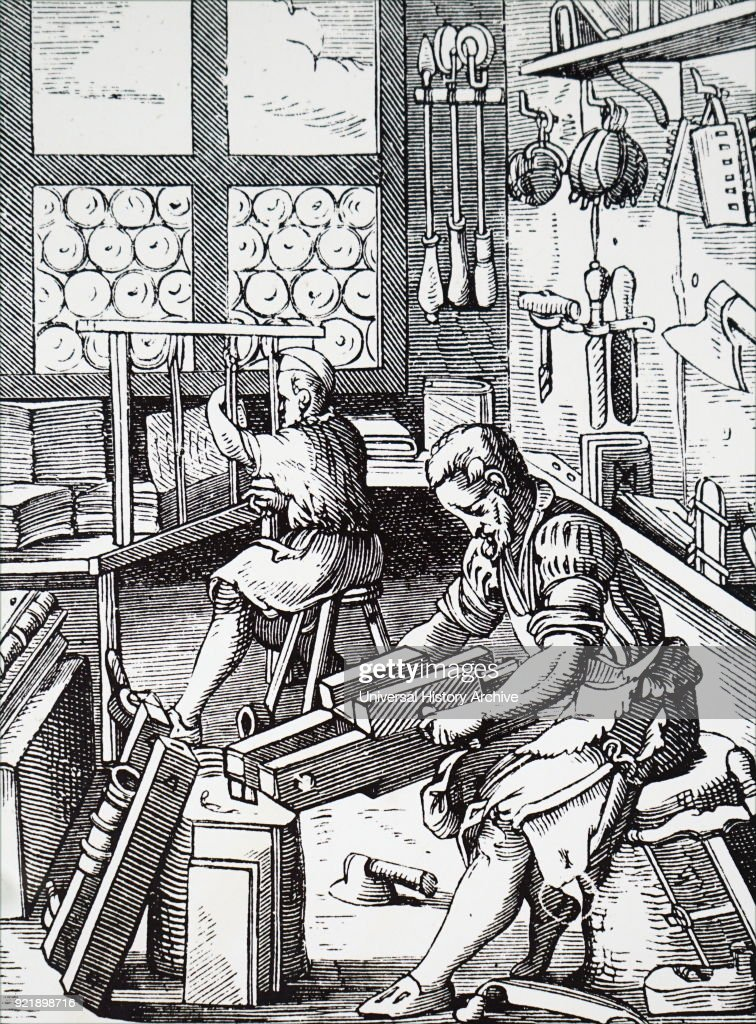 Woodcut depicting a bookbinder's workshop. Dated 16th century.