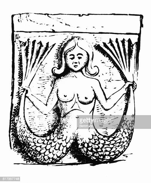 Woodcut depicting a twotailed mermaid Undated illustration