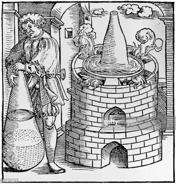 A woodcut depicting an alchemist at work from 'The Books of Alchemy of the Most Ingenious Arabian Philosopher Geber' published in Berne 1545