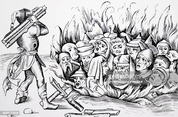 Woodcut depicting Jews of Cologne being burnt alive after being tortured Dated 15th Century