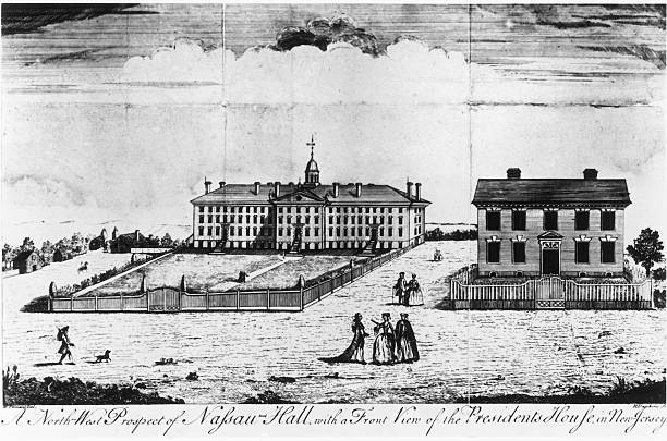 Woodcut depicting Nassau Hall in Princeton, New Jersey,...