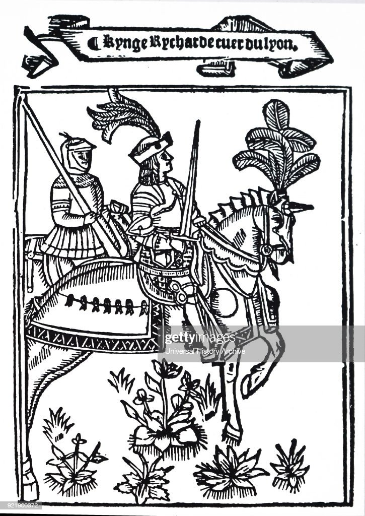 Woodcut depicting Richard I of England (1157-1199) King of England until his death. Dated 16th century.