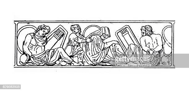 Woodcut depicting the Bondmen and the Freedmen