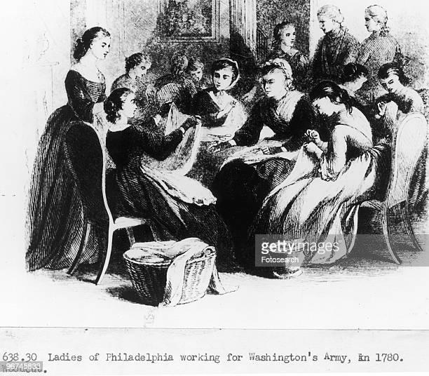 Woodcut depicting the ladies of Philadelphia working for Washington's Army in 1780 Philadelphia Pennsylvania USA circa 1780