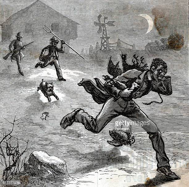 Woodcut depicting white men chasing a Negro who has seemingly poached on their property Captioned 'Oh why does the white man follow my path' Undated...