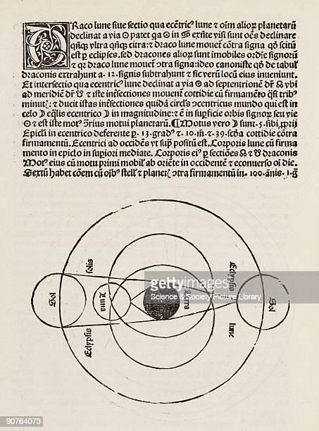 Woodcut diagram showing the Sun Moon and Earth at the centre Illustration from 'Compilatio_de astrorum scientia' by Leopoldus Duke of Austria...