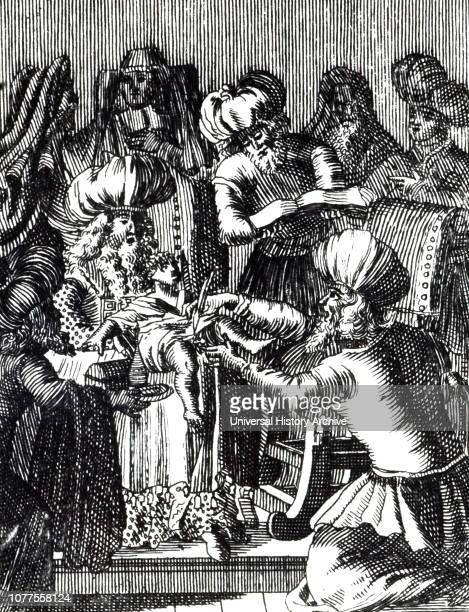 A woodcut engraving depicting a circumcision of an infant Dated 17th century