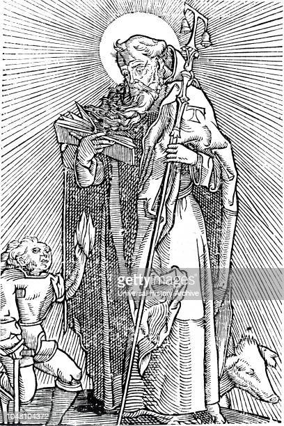 A woodcut engraving depicting a victim of St Anthony's Fire appealing to the saint for help Dated 16th century