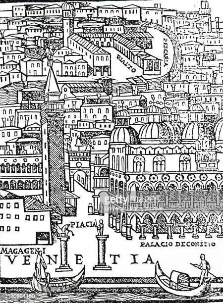 A woodcut engraving depicting a view of Venice from the title page of Amerigo Vespucci's 'Voyages' Amerigo Vespucci an Italian explorer financier...