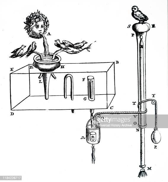 A woodcut engraving depicting an automaton powered by a stream of water making the birds seem to sing Dated 17th century