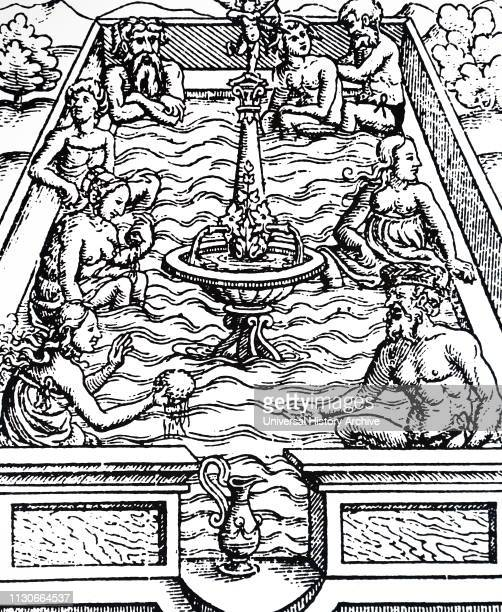 A woodcut engraving depicting the baths of Plombiere Mixed public baths were a feature of city life particularly in many of the German citystates but...