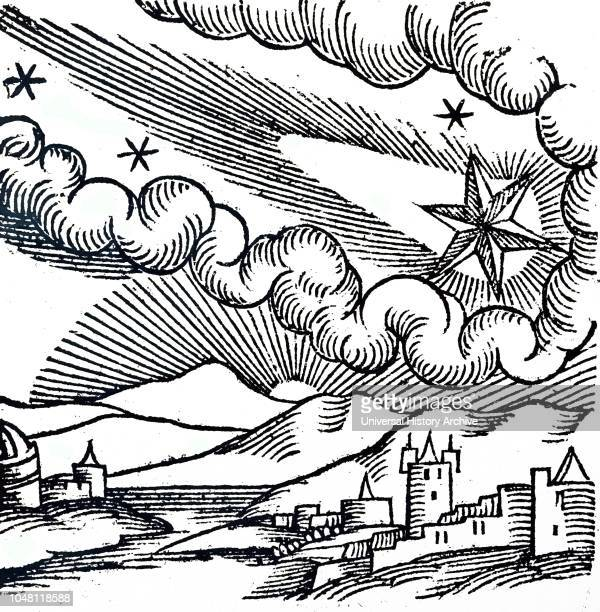 Woodcut engraving depicting The Great Comet of 1456 : Pope Calixtus III excommunicated this comet. Dated 16th century.