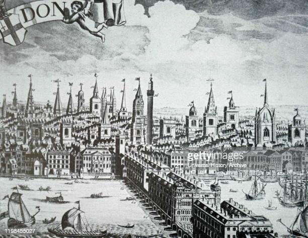 Woodcut engraving depicting the Steelyard, the main trading base of the Hanseatic League in London during the 15th and 16th centuries.
