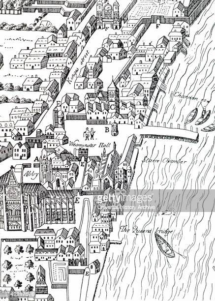 A woodcut engraving depicting Westminster during the Elizabethan Era Dated 17th century