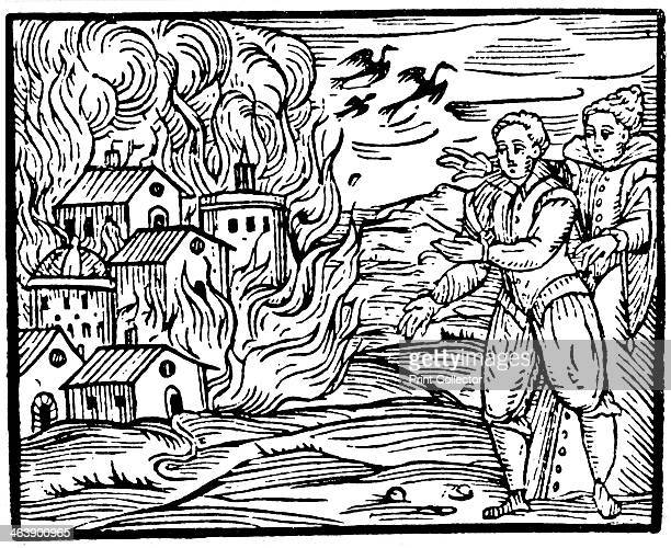 Witches destroying a house by fire Swabia 1533 Woodcut from Francesco Maria Guazzo Compendium Maleficarum Milan 1608