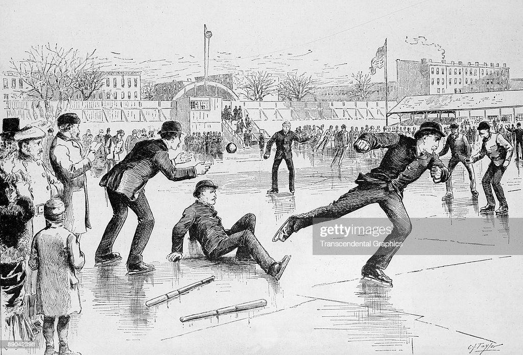 Baseball on Skates Woodcut : News Photo