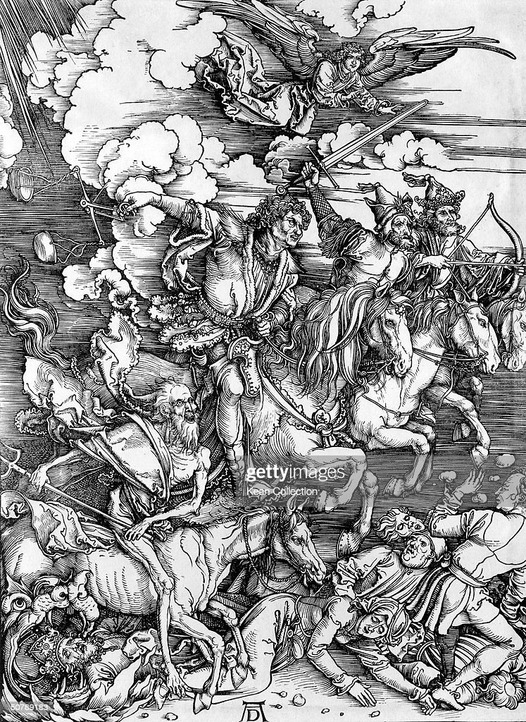 A woodcut illustration depicting the Four Horsemen of The