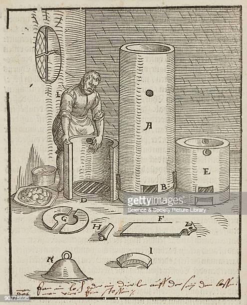 Woodcut illustration from 'Beschreibung aller furnemisten mineralischen Ertzt vnnd Bergtwercks arten' by Lazarus Ercker published in FrankfurtamMain...