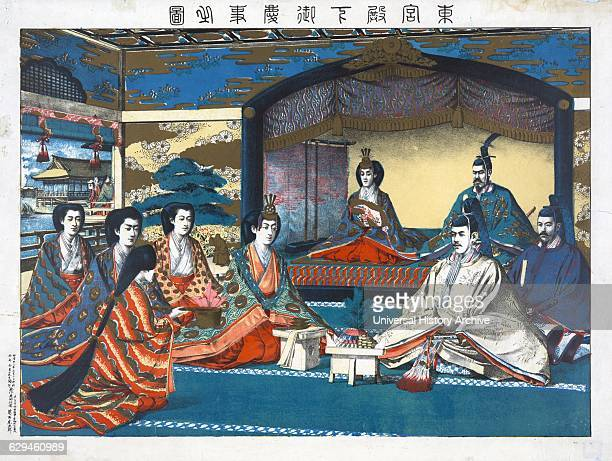 Woodcut illustration of the Crown Prince and the Princess during their wedding ceremony Meiji Emperor of Japan and other members of the imperial...